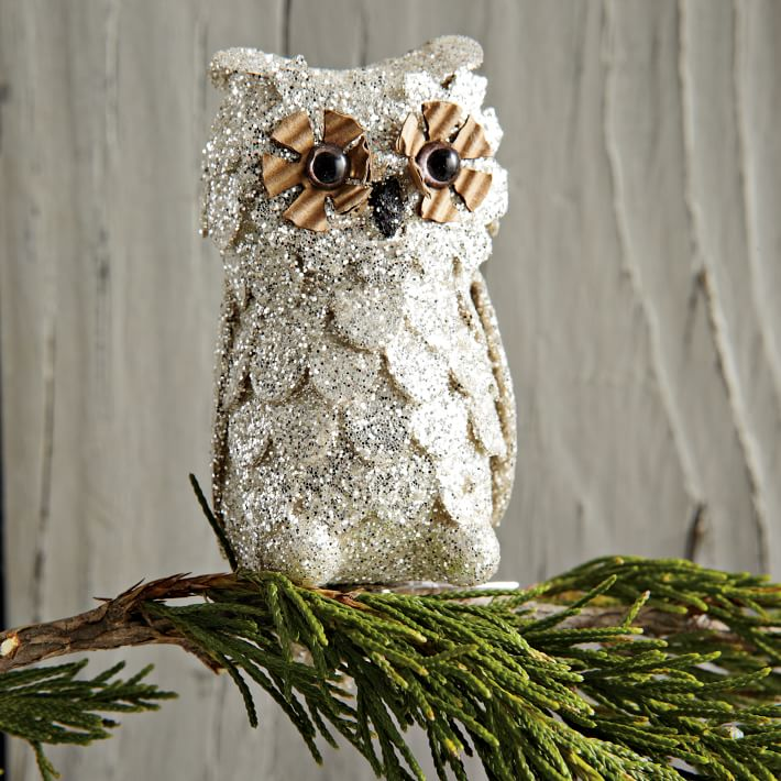 we glitter owl ornament