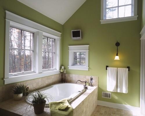Pantone Greenery in a Serene Bathroom