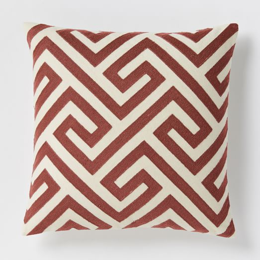 Crewel Key Pillow in Cayenne: West Elm