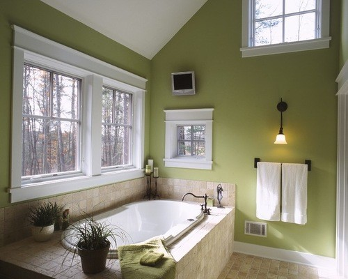 Pantone Greenery in a Serene Bathroom