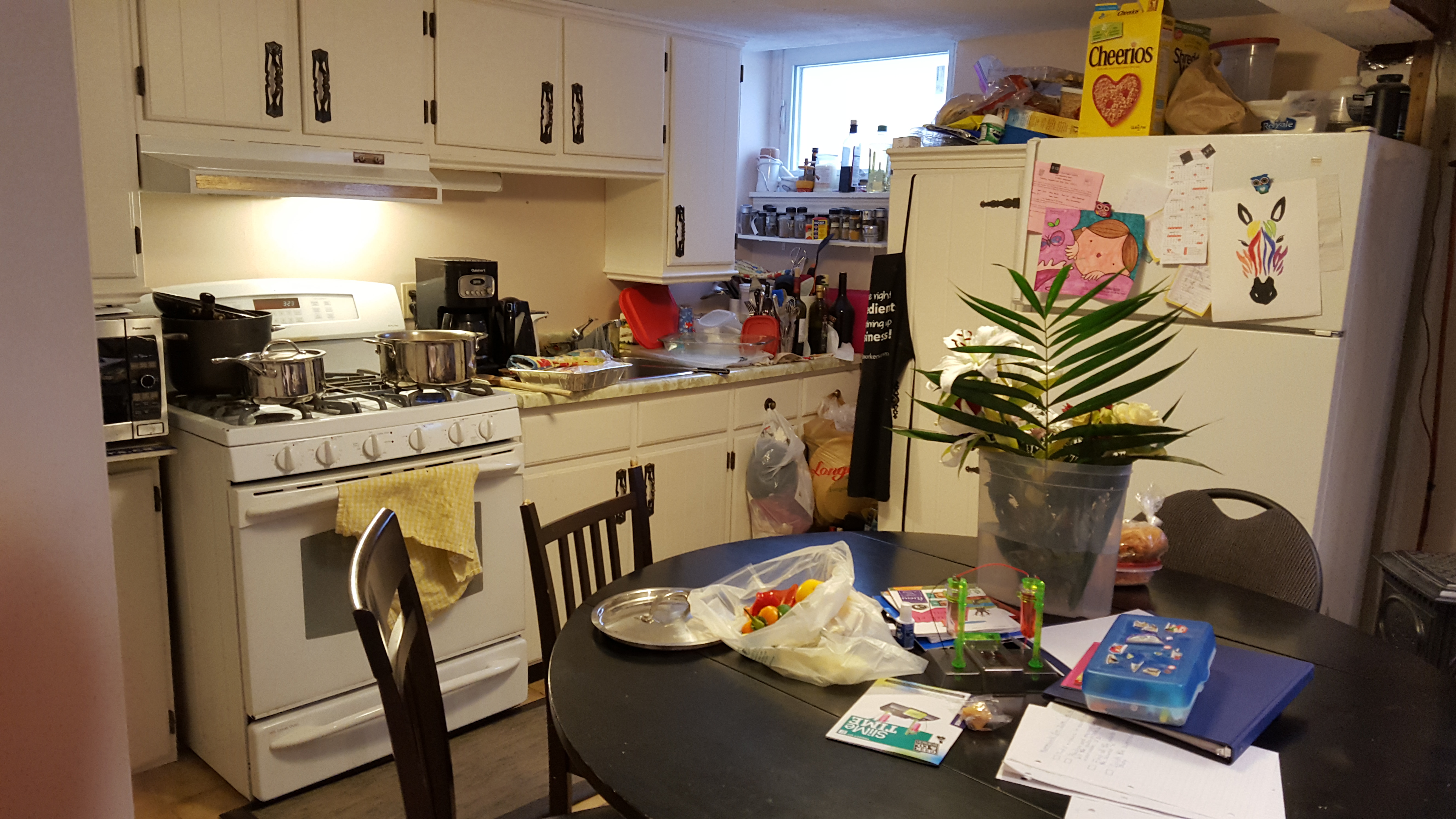 Total chaos. This is my kitchen. And that table is where we eat, do crafts, science projects, homework etc.
