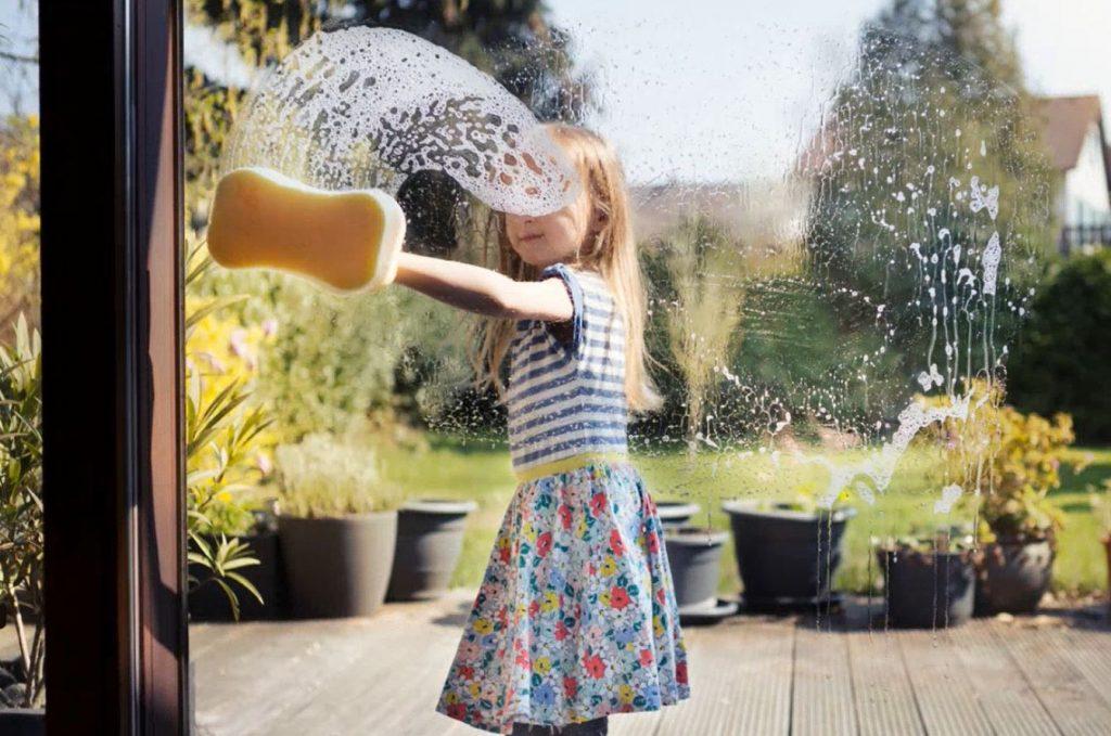 spring cleaning, children, washing windows, spring checklist, home maintenance
